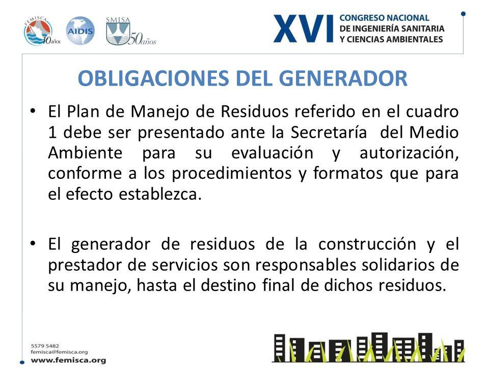 OBLIGACIONES DEL GENERADOR El Plan de Manejo de Residuos referido en el cuadro 1 debe ser presentado ante la Secretaría del Medio Ambiente para su eva