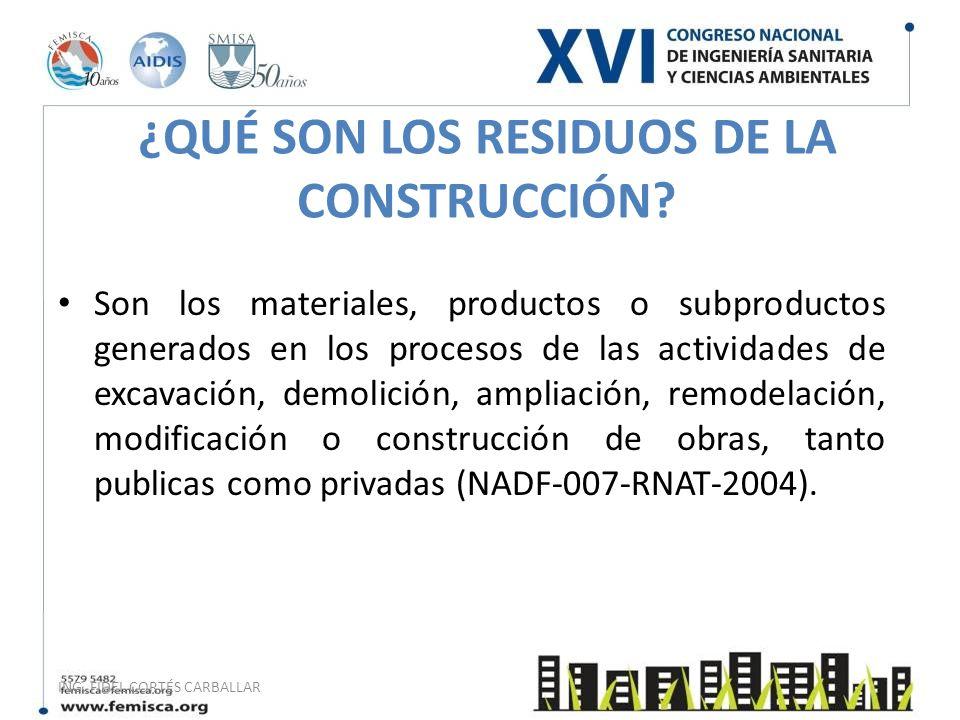 ING. FIDEL CORTÉS CARBALLAR ¿QUÉ SON LOS RESIDUOS DE LA CONSTRUCCIÓN? Son los materiales, productos o subproductos generados en los procesos de las ac