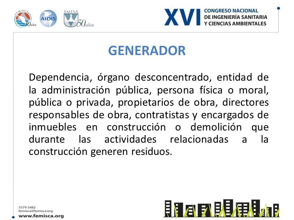 GENERADOR Dependencia, órgano desconcentrado, entidad de la administración pública, persona física o moral, pública o privada, propietarios de obra, d