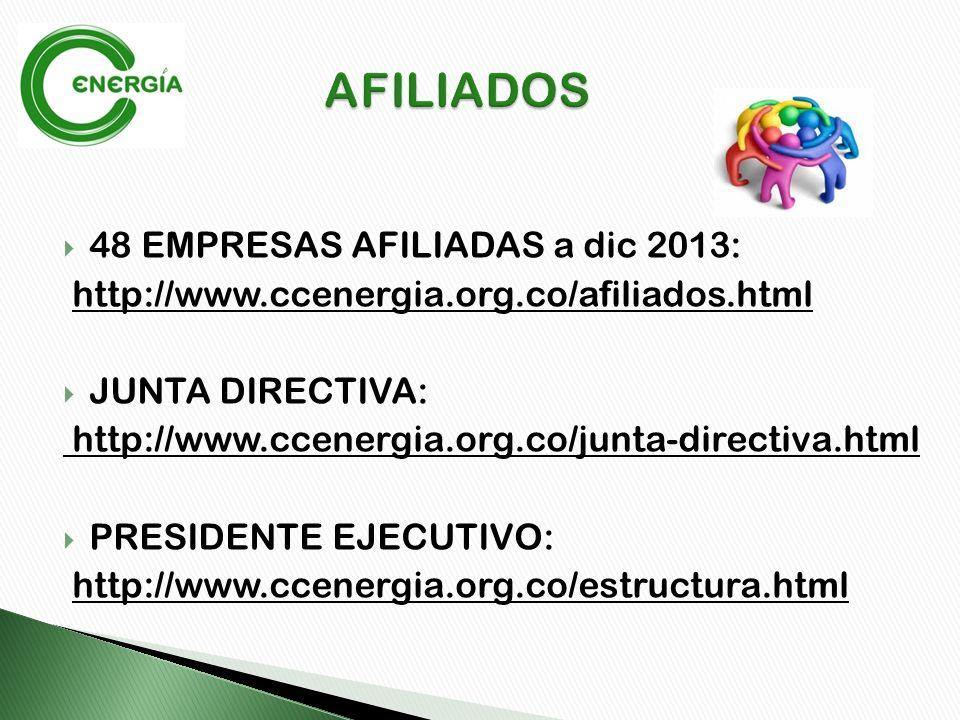48 EMPRESAS AFILIADAS a dic 2013: http://www.ccenergia.org.co/afiliados.html JUNTA DIRECTIVA: http://www.ccenergia.org.co/junta-directiva.html PRESIDENTE EJECUTIVO: http://www.ccenergia.org.co/estructura.html
