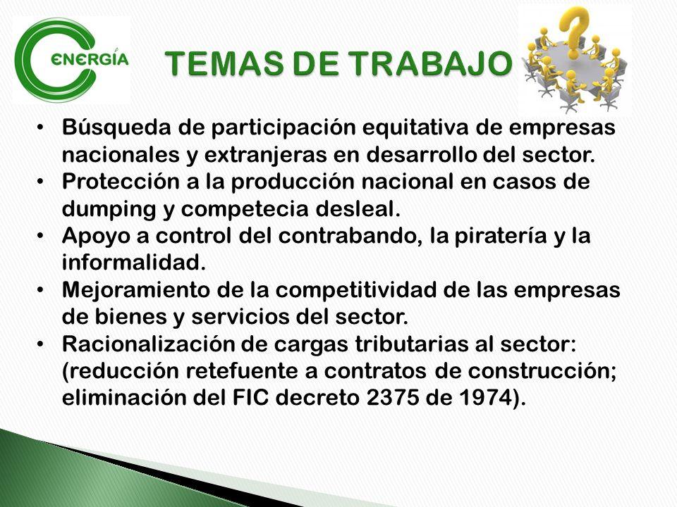 Búsqueda de participación equitativa de empresas nacionales y extranjeras en desarrollo del sector.