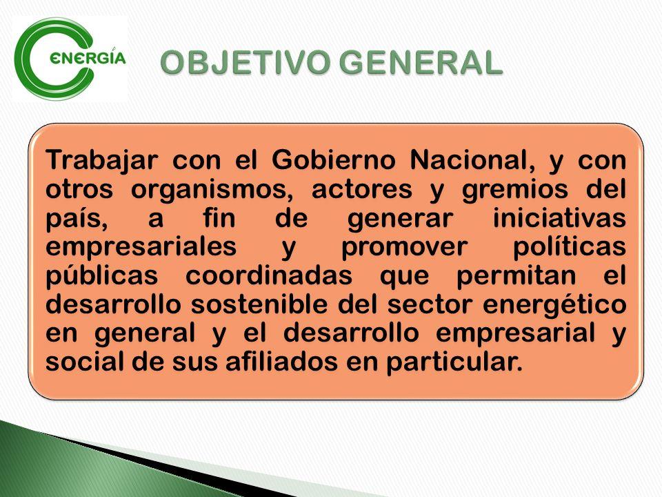 Trabajar con el Gobierno Nacional, y con otros organismos, actores y gremios del país, a fin de generar iniciativas empresariales y promover políticas públicas coordinadas que permitan el desarrollo sostenible del sector energético en general y el desarrollo empresarial y social de sus afiliados en particular.