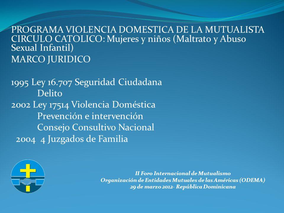 II Foro Internacional de Mutualismo Organización de Entidades Mutuales de las Américas (ODEMA) 29 de marzo 2012- República Dominicana PROGRAMA VIOLENCIA DOMESTICA DE LA MUTUALISTA CIRCULO CATOLICO: Mujeres y niños (Maltrato y Abuso Sexual Infantil) MARCO JURIDICO 1995 Ley 16.707 Seguridad Ciudadana Delito 2002 Ley 17514 Violencia Doméstica Prevención e intervención Consejo Consultivo Nacional 2004 4 Juzgados de Familia