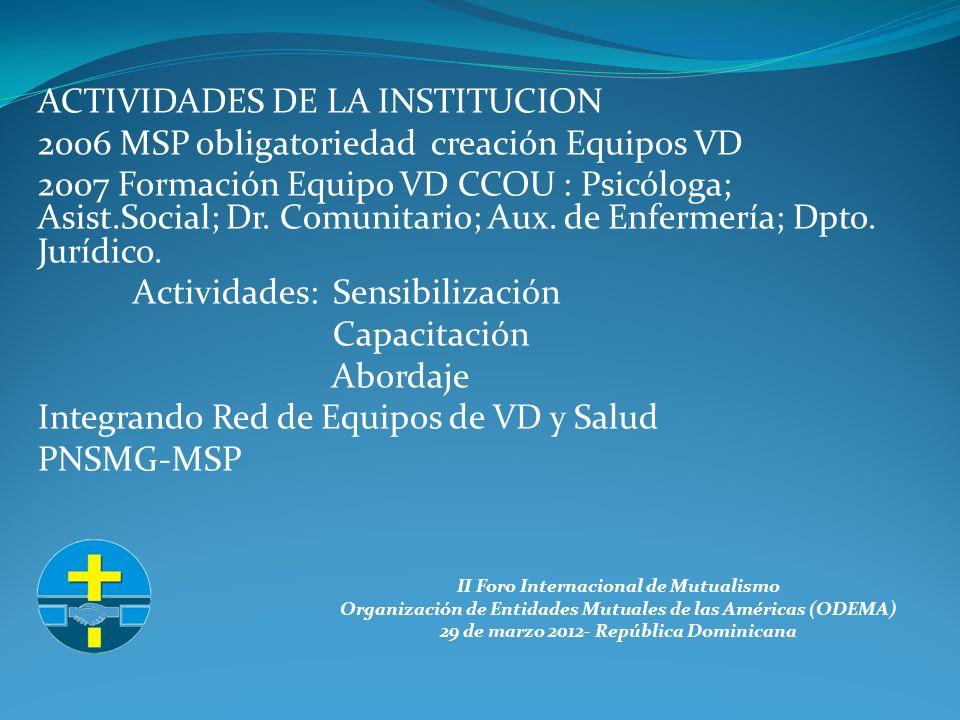 II Foro Internacional de Mutualismo Organización de Entidades Mutuales de las Américas (ODEMA) 29 de marzo 2012- República Dominicana ACTIVIDADES DE LA INSTITUCION 2006 MSP obligatoriedad creación Equipos VD 2007 Formación Equipo VD CCOU : Psicóloga; Asist.Social; Dr.