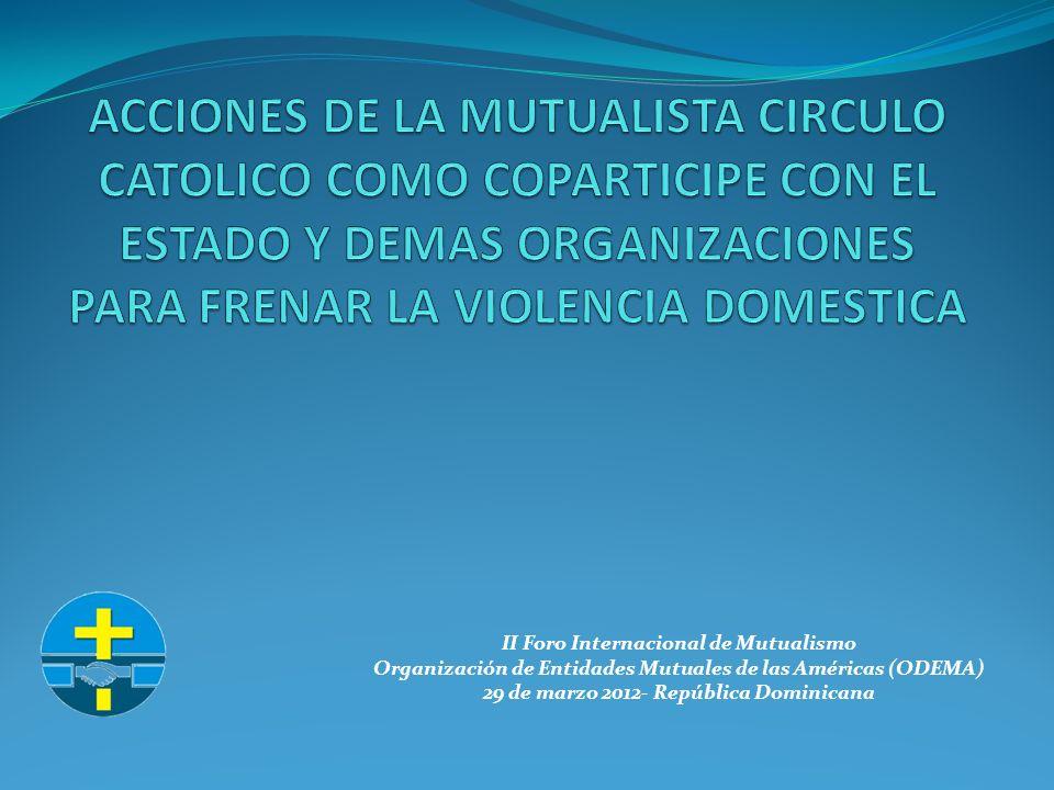 II Foro Internacional de Mutualismo Organización de Entidades Mutuales de las Américas (ODEMA) 29 de marzo 2012- República Dominicana INTERVENCIONES EN SITUACIONES DE VIOLENCIA DOMESTICA