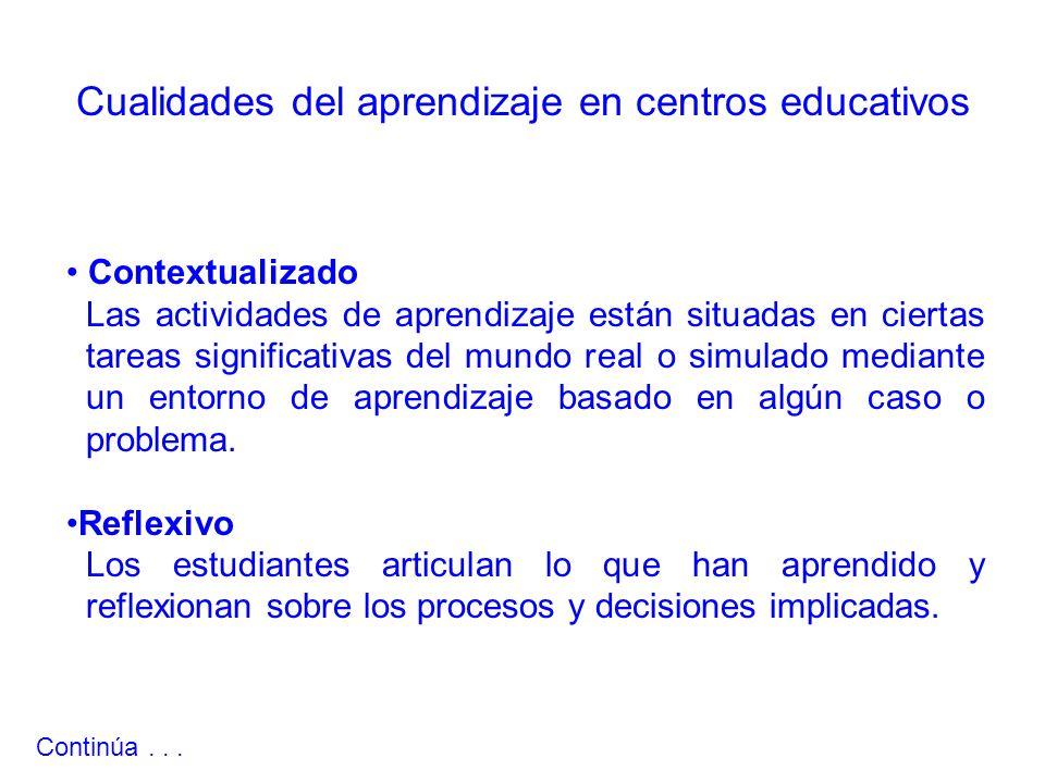 Contextualizado Las actividades de aprendizaje están situadas en ciertas tareas significativas del mundo real o simulado mediante un entorno de aprendizaje basado en algún caso o problema.