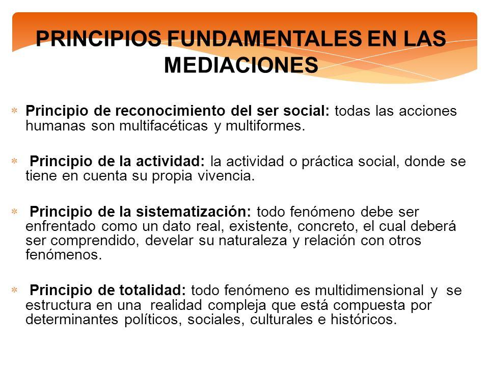 PRINCIPIOS FUNDAMENTALES EN LAS MEDIACIONES Principio de reconocimiento del ser social: todas las acciones humanas son multifacéticas y multiformes. P
