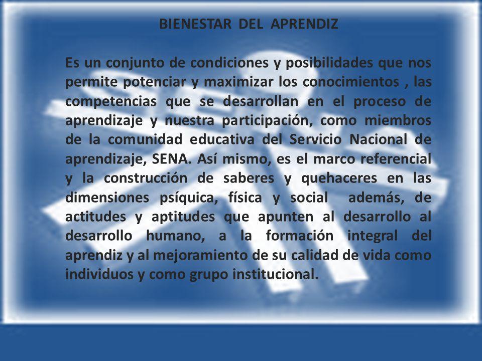 BIENESTAR DEL APRENDIZ Es un conjunto de condiciones y posibilidades que nos permite potenciar y maximizar los conocimientos, las competencias que se