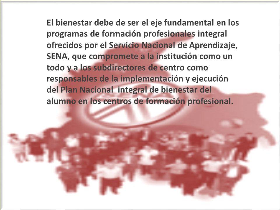 Campos Bienestar del Aprendiz 1- SALUD 2- Desarrollo intelectual 3- Consejería y Orientación 4- Promoción Socioeconómica 5- Recreación y Deporte 6- Información y Comunicación 7- Protección y Servicios Institucionales