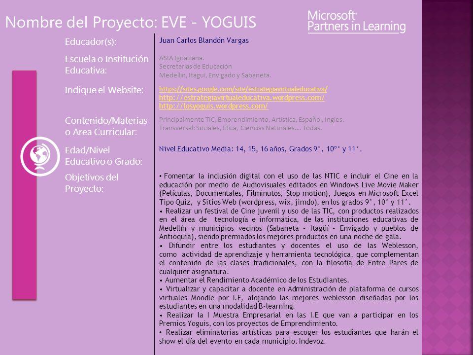 Nombre del Proyecto: EVE - YOGUIS Educador(s): Juan Carlos Blandón Vargas Escuela o Institución Educativa: ASIA Ignaciana. Secretarias de Educación Me