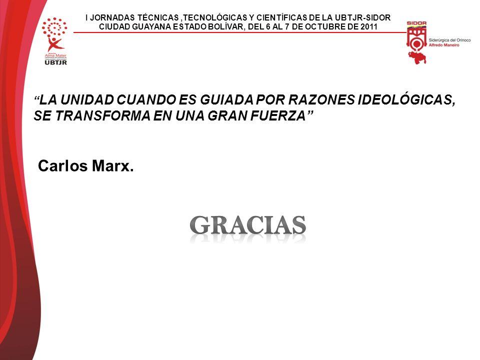 I JORNADAS TÉCNICAS,TECNOLÓGICAS Y CIENTÍFICAS DE LA UBTJR-SIDOR CIUDAD GUAYANA ESTADO BOLÍVAR, DEL 6 AL 7 DE OCTUBRE DE 2011 LA UNIDAD CUANDO ES GUIADA POR RAZONES IDEOLÓGICAS, SE TRANSFORMA EN UNA GRAN FUERZA Carlos Marx.