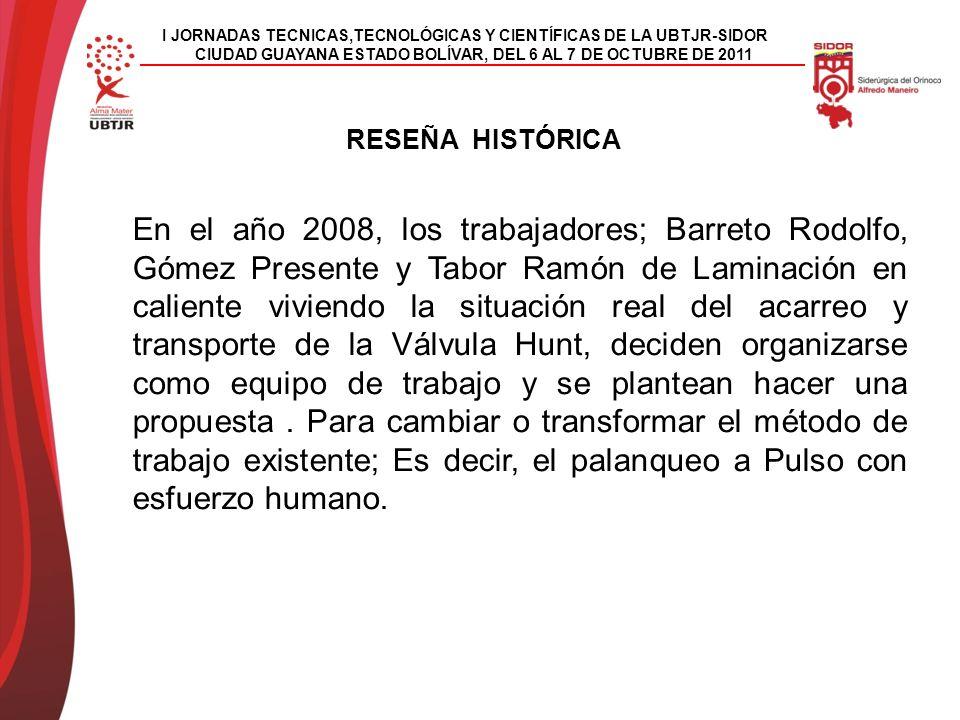En el año 2008, los trabajadores; Barreto Rodolfo, Gómez Presente y Tabor Ramón de Laminación en caliente viviendo la situación real del acarreo y transporte de la Válvula Hunt, deciden organizarse como equipo de trabajo y se plantean hacer una propuesta.