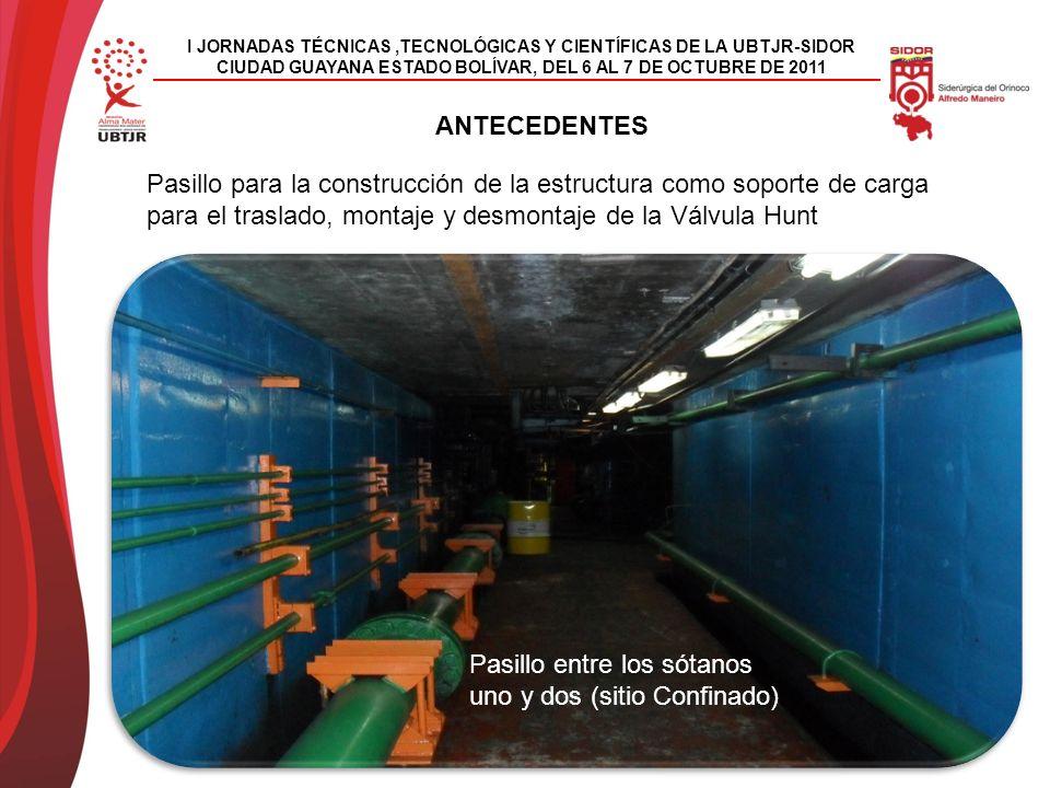 I JORNADAS TÉCNICAS,TECNOLÓGICAS Y CIENTÍFICAS DE LA UBTJR-SIDOR CIUDAD GUAYANA ESTADO BOLÍVAR, DEL 6 AL 7 DE OCTUBRE DE 2011 ANTECEDENTES Pasillo para la construcción de la estructura como soporte de carga para el traslado, montaje y desmontaje de la Válvula Hunt Pasillo entre los sótanos uno y dos (sitio Confinado)