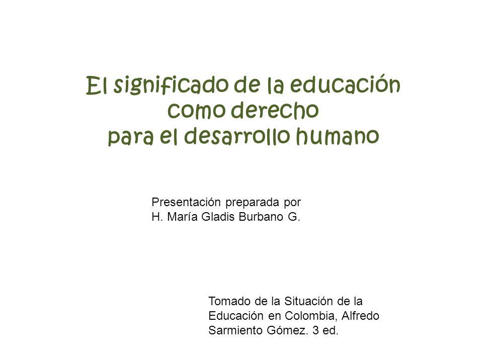 El significado de la educación como derecho para el desarrollo humano Tomado de la Situación de la Educación en Colombia, Alfredo Sarmiento Gómez. 3 e