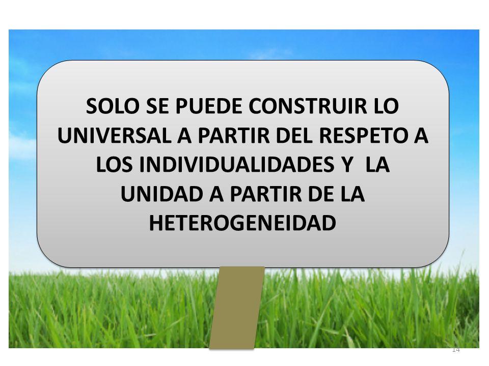 14 SOLO SE PUEDE CONSTRUIR LO UNIVERSAL A PARTIR DEL RESPETO A LOS INDIVIDUALIDADES Y LA UNIDAD A PARTIR DE LA HETEROGENEIDAD