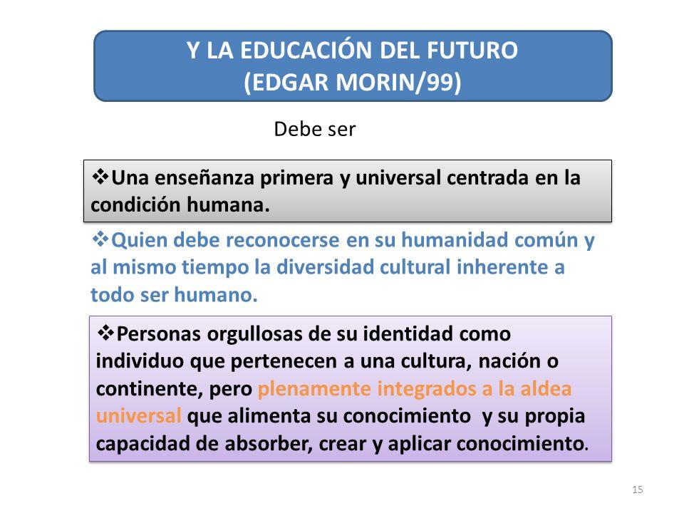 15 Y LA EDUCACIÓN DEL FUTURO (EDGAR MORIN/99) Debe ser Una enseñanza primera y universal centrada en la condición humana. Quien debe reconocerse en su