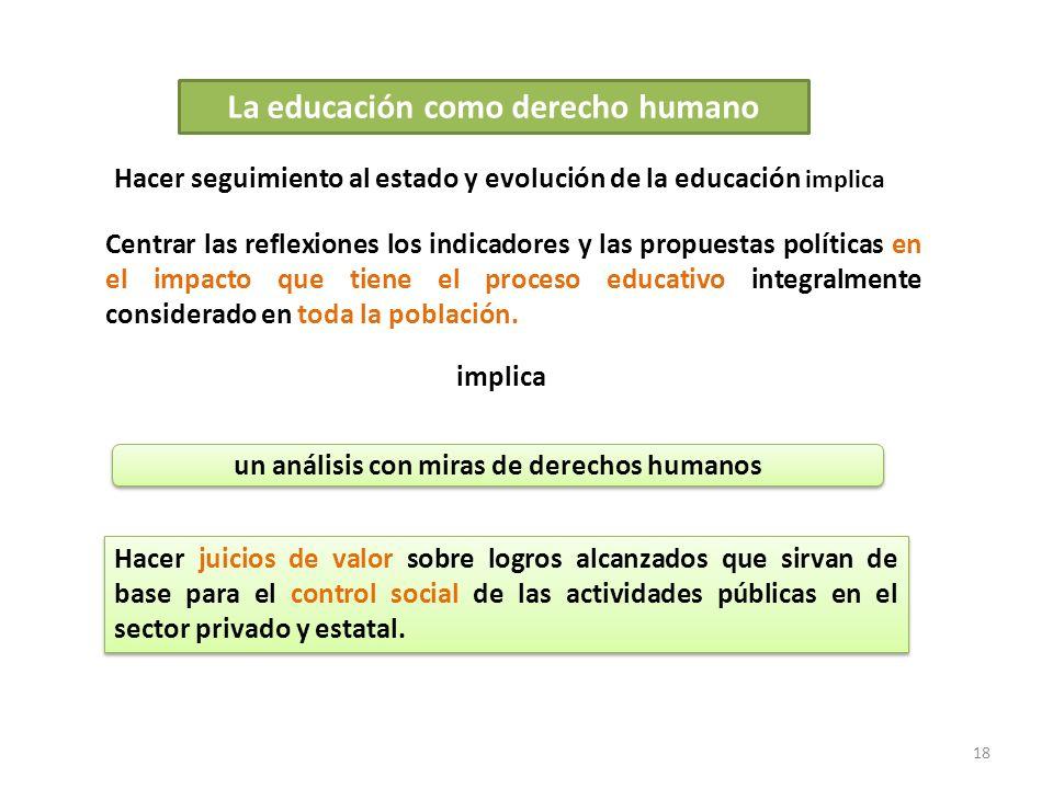 18 La educación como derecho humano Hacer seguimiento al estado y evolución de la educación implica Centrar las reflexiones los indicadores y las prop
