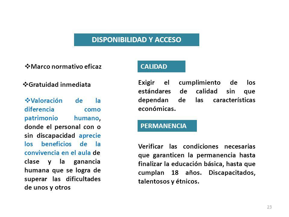 23 DISPONIBILIDAD Y ACCESO Marco normativo eficaz Gratuidad inmediata Valoración de la diferencia como patrimonio humano, donde el personal con o sin