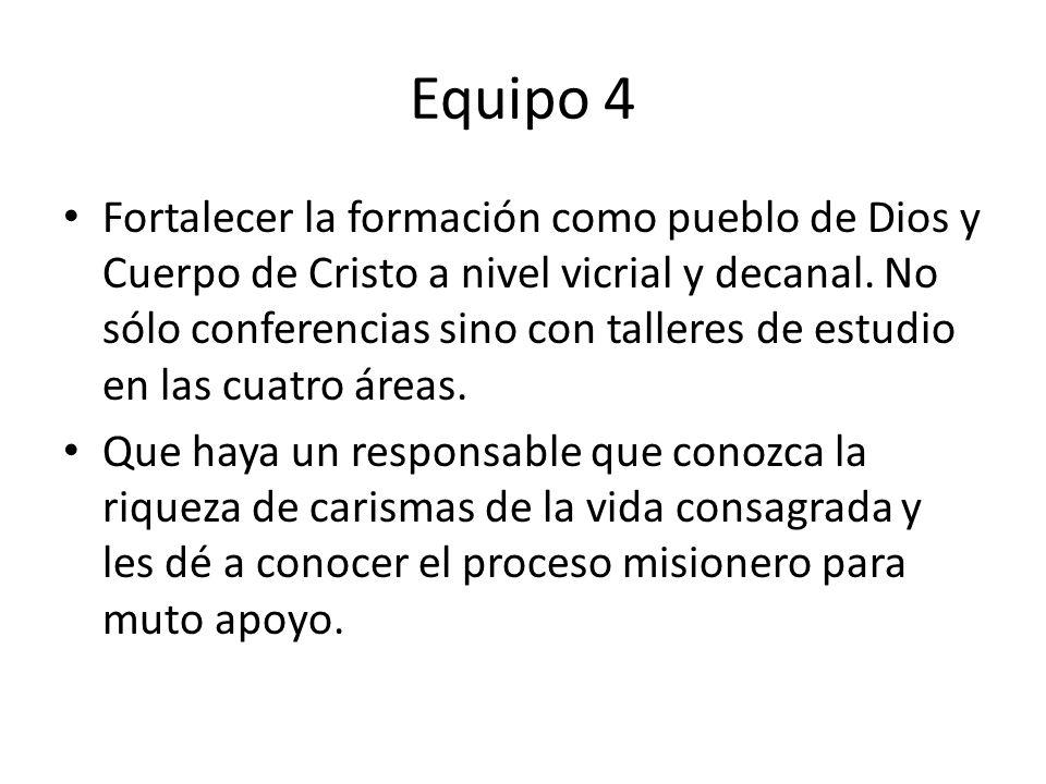 Equipo 4 Fortalecer la formación como pueblo de Dios y Cuerpo de Cristo a nivel vicrial y decanal.