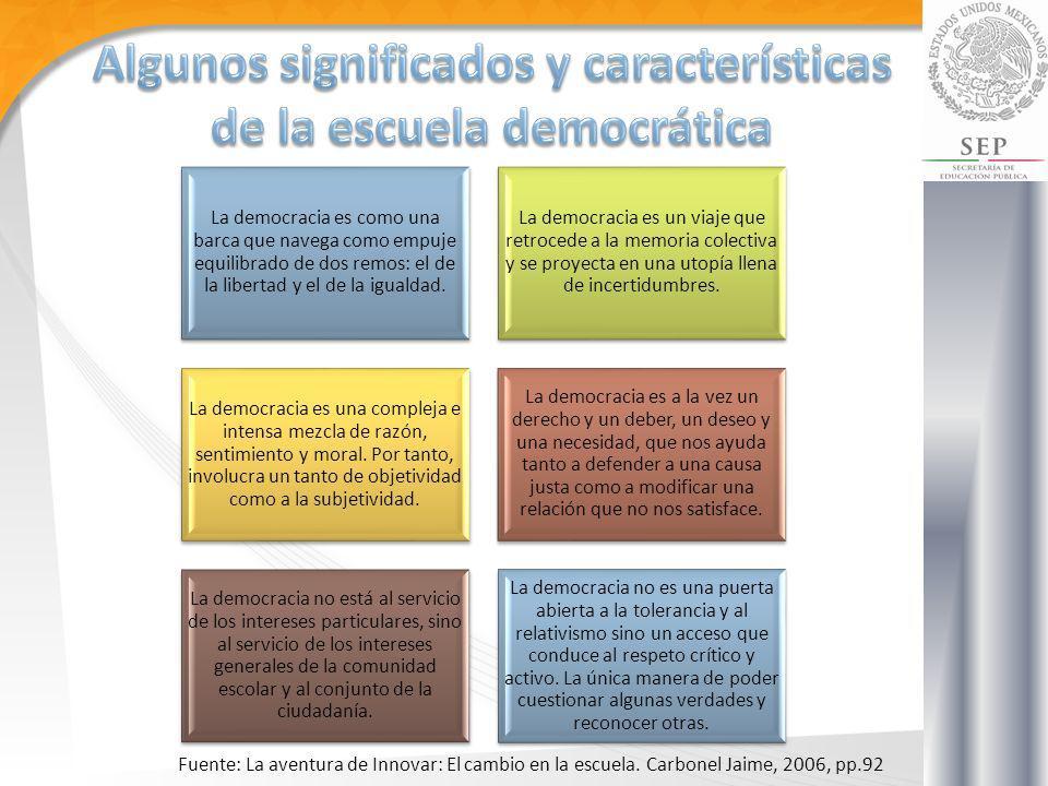 La democracia es como una barca que navega como empuje equilibrado de dos remos: el de la libertad y el de la igualdad. La democracia es un viaje que