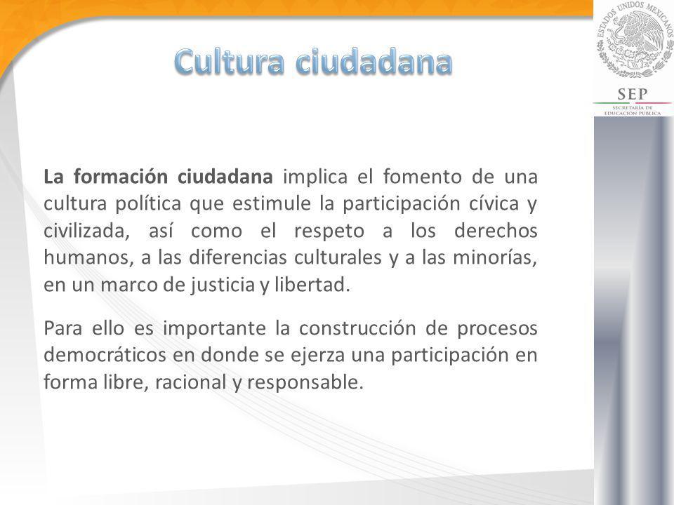 La formación ciudadana implica el fomento de una cultura política que estimule la participación cívica y civilizada, así como el respeto a los derecho