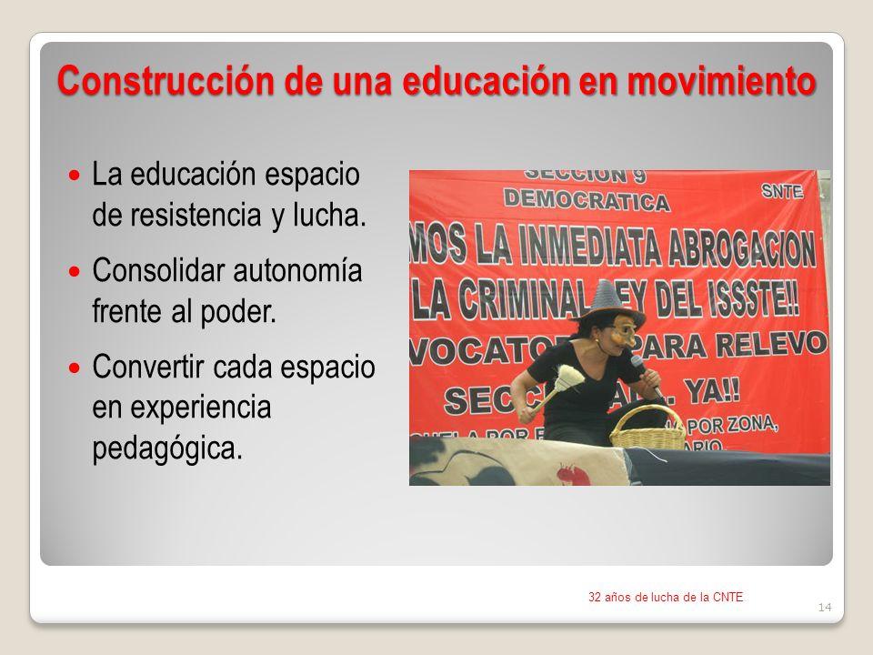 Construcción de una educación en movimiento La educación espacio de resistencia y lucha.