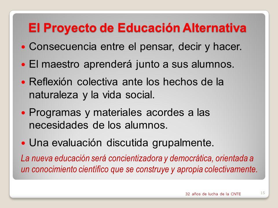 El Proyecto de Educación Alternativa Consecuencia entre el pensar, decir y hacer.