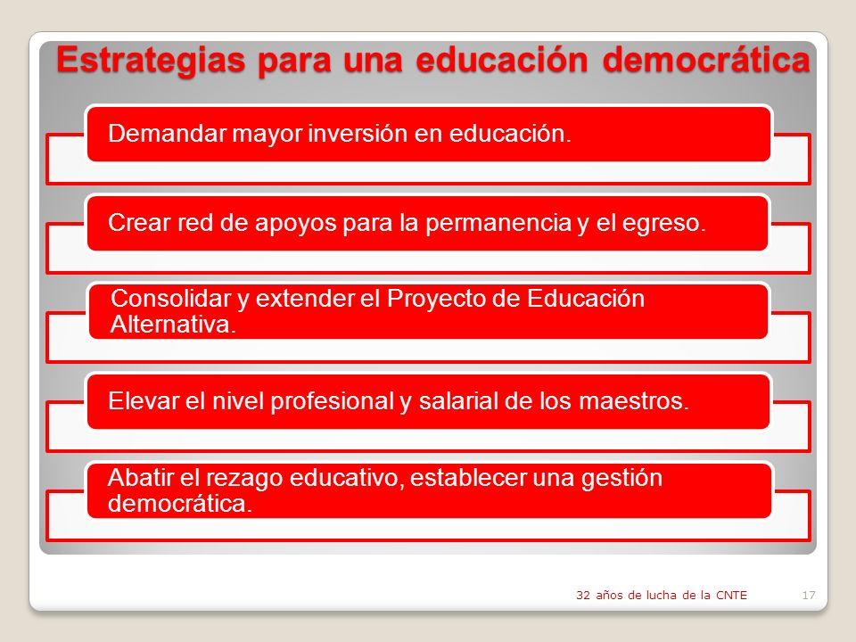 Estrategias para una educación democrática Demandar mayor inversión en educación.Crear red de apoyos para la permanencia y el egreso.