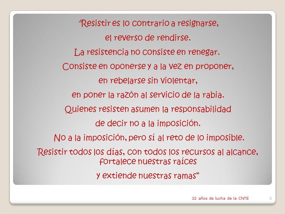 3 Resistir es lo contrario a resignarse, el reverso de rendirse.