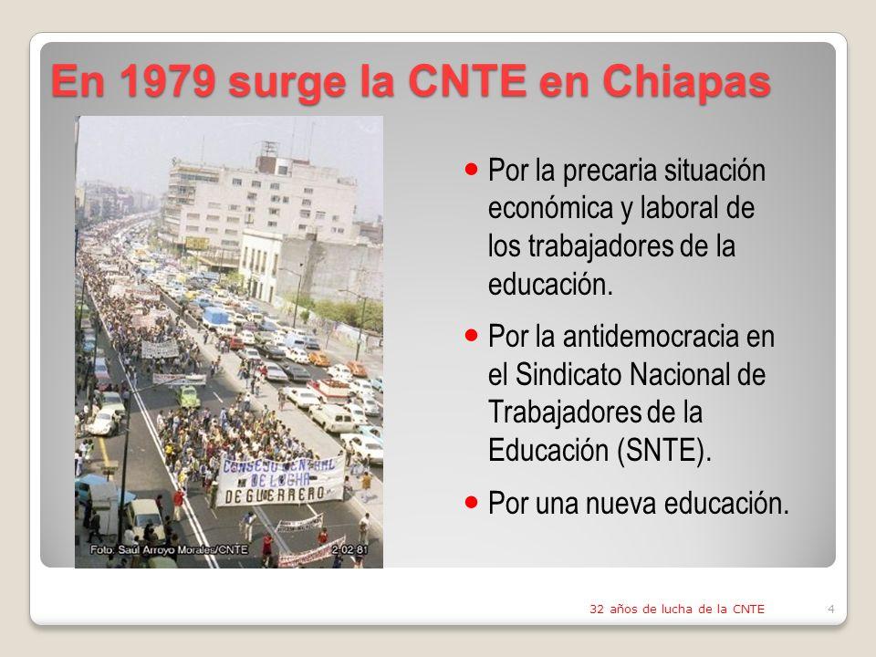 En 1979 surge la CNTE en Chiapas 32 años de lucha de la CNTE4 Por la precaria situación económica y laboral de los trabajadores de la educación.