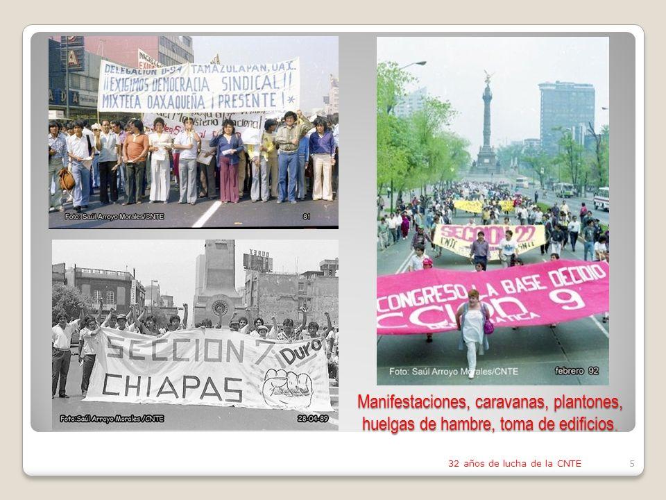 Manifestaciones, caravanas, plantones, huelgas de hambre, toma de edificios.