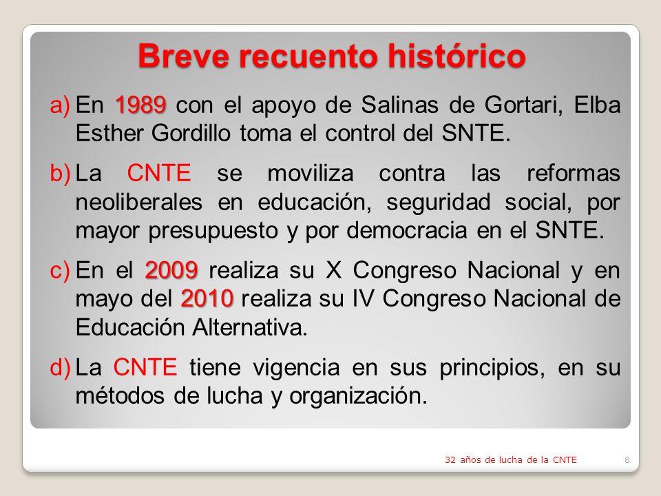 Breve recuento histórico 1989 a)En 1989 con el apoyo de Salinas de Gortari, Elba Esther Gordillo toma el control del SNTE.