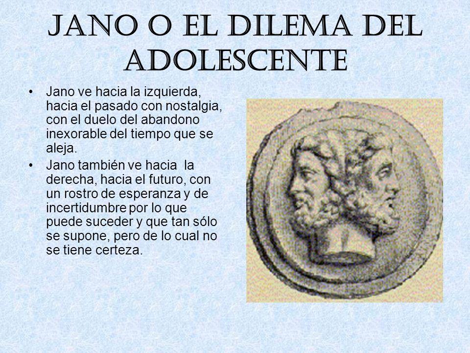 Jano o el dilema del adolescente Como dios de los comienzos, se lo invocaba públicamente el primer día de enero (januarius). De ahí el nombre del prim