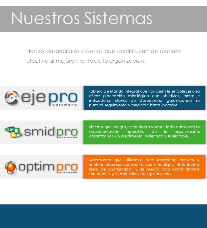 Hemos desarrollado sistemas que contribuyen de manera efectiva al mejoramiento de tu organización.