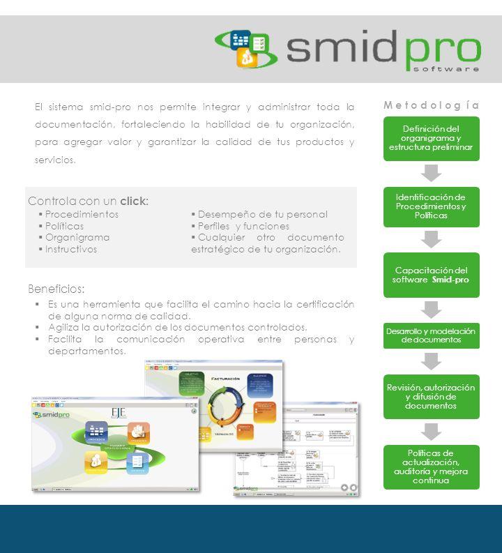 El sistema smid-pro nos permite integrar y administrar toda la documentación, fortaleciendo la habilidad de tu organización, para agregar valor y garantizar la calidad de tus productos y servicios.