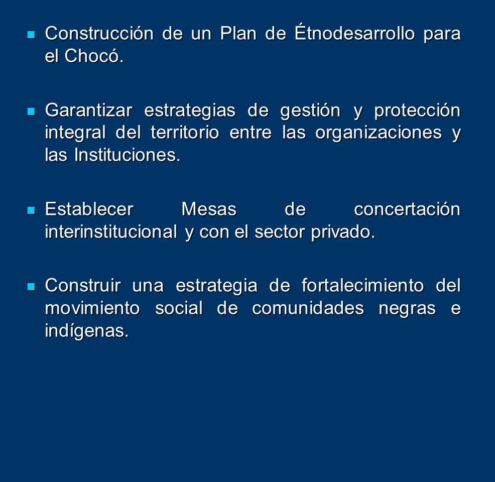Construcción de un Plan de Étnodesarrollo para el Chocó. Construcción de un Plan de Étnodesarrollo para el Chocó. Garantizar estrategias de gestión y