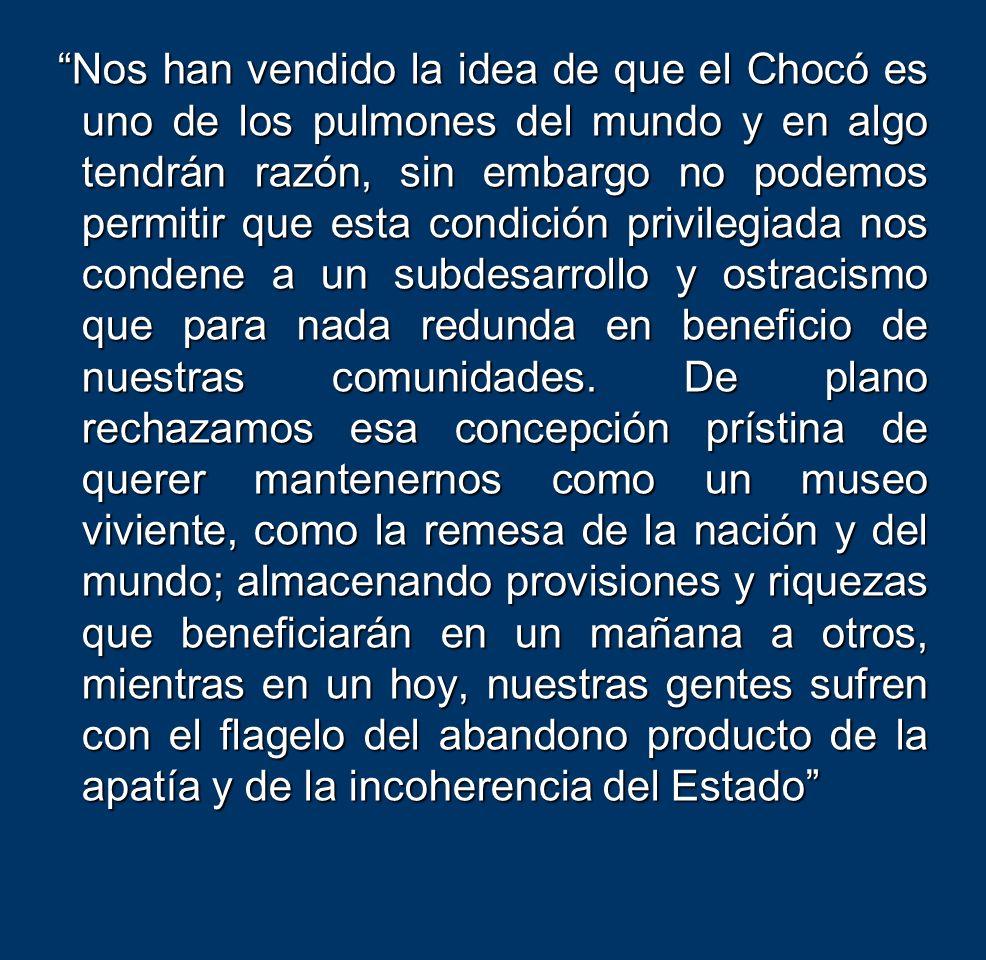 Nos han vendido la idea de que el Chocó es uno de los pulmones del mundo y en algo tendrán razón, sin embargo no podemos permitir que esta condición p