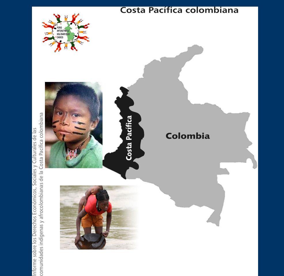 UBICACIÓN GEOGRAFICA Y POBLACIONAL En el Pacífico Colombiano habitan 1.119.796 personas Esta población está conformada mayoritariamente por : El pueblo afrocolombiano, 90% El pueblo afrocolombiano, 90% Los pueblos indígenas, 6% Los pueblos indígenas, 6% Mestizos, 4% Mestizos, 4%