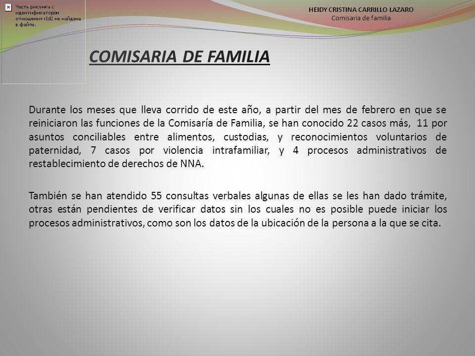 HEIDY CRISTINA CARRILLO LAZARO Comisaria de familia Durante los meses que lleva corrido de este año, a partir del mes de febrero en que se reiniciaron