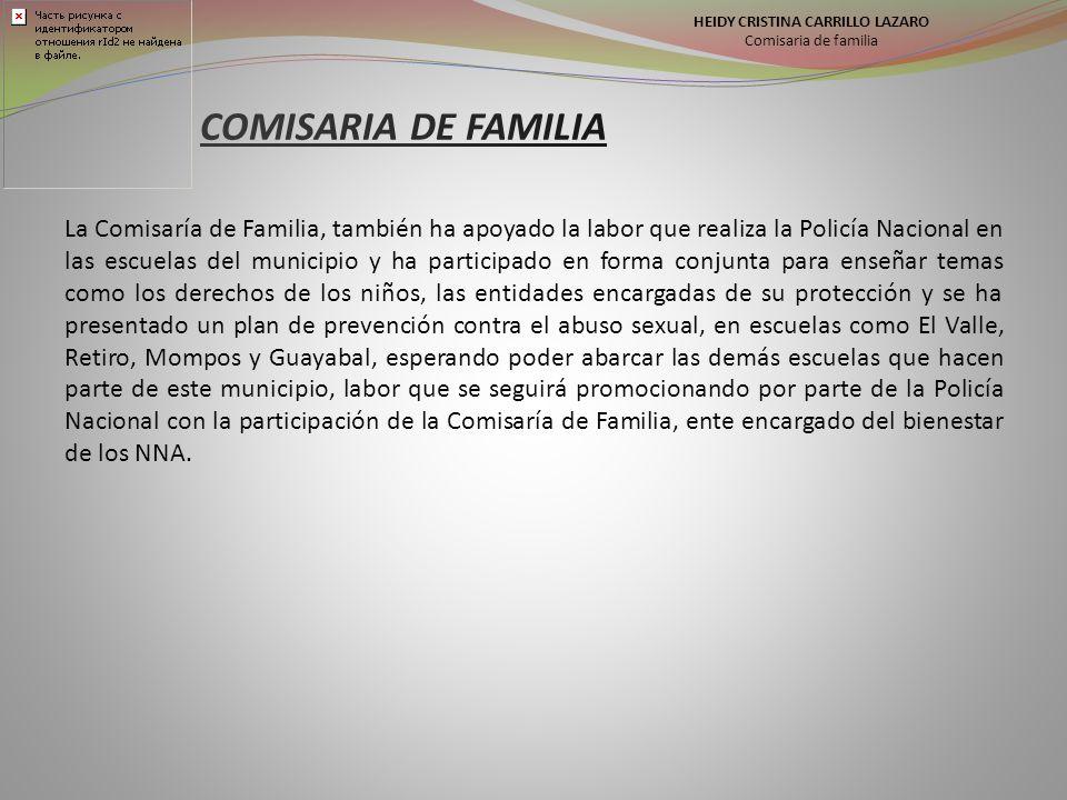 HEIDY CRISTINA CARRILLO LAZARO Comisaria de familia La Comisaría de Familia, también ha apoyado la labor que realiza la Policía Nacional en las escuelas del municipio y ha participado en forma conjunta para enseñar temas como los derechos de los niños, las entidades encargadas de su protección y se ha presentado un plan de prevención contra el abuso sexual, en escuelas como El Valle, Retiro, Mompos y Guayabal, esperando poder abarcar las demás escuelas que hacen parte de este municipio, labor que se seguirá promocionando por parte de la Policía Nacional con la participación de la Comisaría de Familia, ente encargado del bienestar de los NNA.
