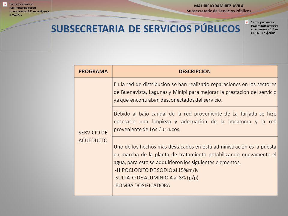 SUBSECRETARIA DE SERVICIOS PÚBLICOS PROGRAMADESCRIPCION SERVICIO DE ACUEDUCTO En la red de distribución se han realizado reparaciones en los sectores