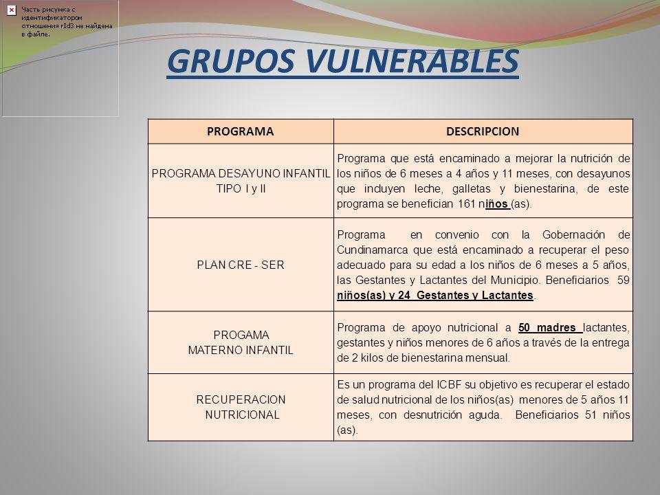 PROGRAMADESCRIPCION PROGRAMA DESAYUNO INFANTIL TIPO I y II Programa que está encaminado a mejorar la nutrición de los niños de 6 meses a 4 años y 11 m