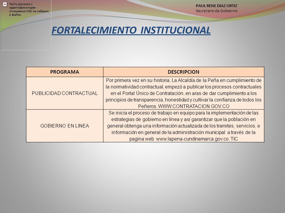 FORTALECIMIENTO INSTITUCIONAL PROGRAMADESCRIPCION PUBLICIDAD CONTRACTUAL Por primera vez en su historia, La Alcaldía de la Peña en cumplimiento de la