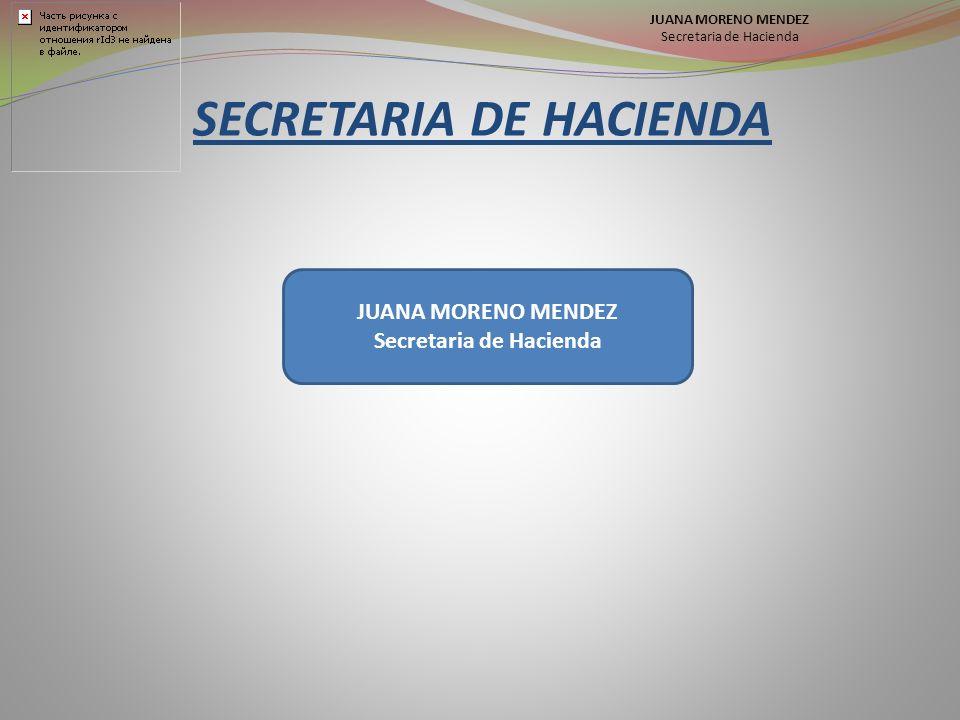 SECRETARIA DE HACIENDA JUANA MORENO MENDEZ Secretaria de Hacienda JUANA MORENO MENDEZ Secretaria de Hacienda