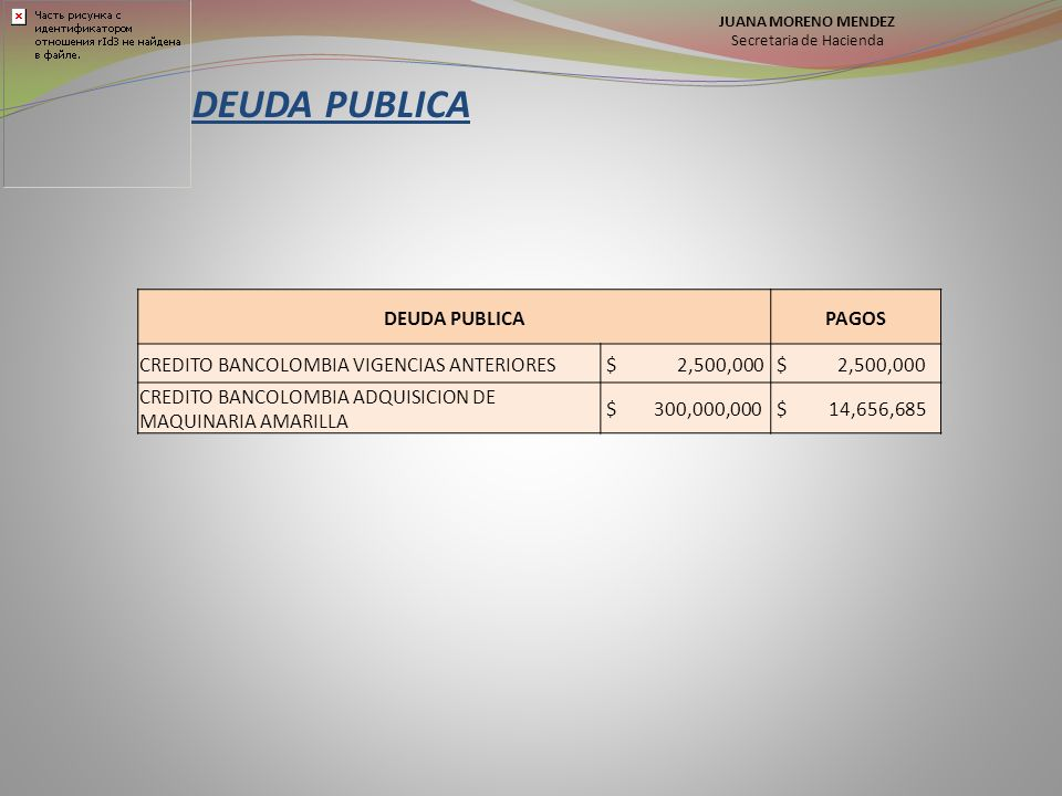 DEUDA PUBLICA PAGOS CREDITO BANCOLOMBIA VIGENCIAS ANTERIORES $ 2,500,000 CREDITO BANCOLOMBIA ADQUISICION DE MAQUINARIA AMARILLA $ 300,000,000 $ 14,656,685 JUANA MORENO MENDEZ Secretaria de Hacienda
