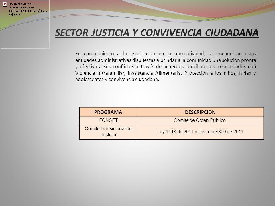 PROGRAMADESCRIPCION FONSETComité de Orden Público. Comité Transicional de Justicia Ley 1448 de 2011 y Decreto 4800 de 2011 En cumplimiento a lo establ