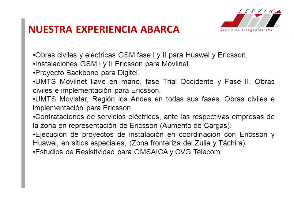 NUESTRA EXPERIENCIA ABARCA Obras civiles y eléctricas GSM fase I y II para Huawei y Ericsson. Instalaciones GSM I y II Ericsson para Movilnet. Proyect