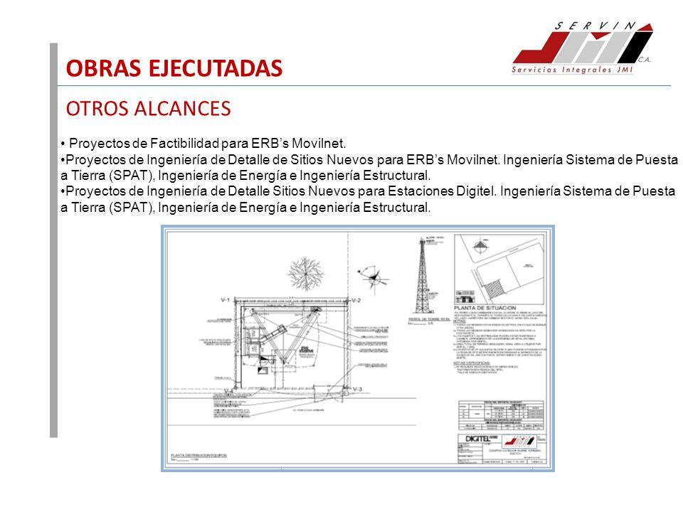 OBRAS EJECUTADAS OTROS ALCANCES Proyectos de Factibilidad para ERBs Movilnet. Proyectos de Ingeniería de Detalle de Sitios Nuevos para ERBs Movilnet.