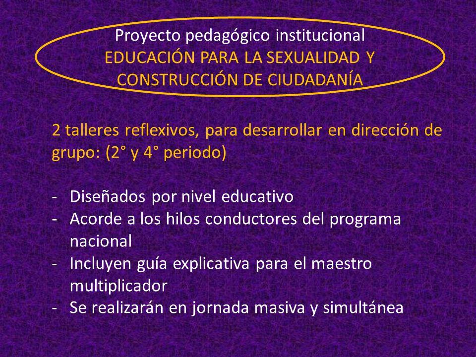 2 talleres reflexivos, para desarrollar en dirección de grupo: (2° y 4° periodo) -Diseñados por nivel educativo -Acorde a los hilos conductores del pr