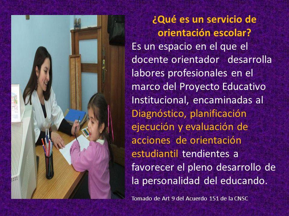 ¿Qué es un servicio de orientación escolar? Es un espacio en el que el docente orientador desarrolla labores profesionales en el marco del Proyecto Ed